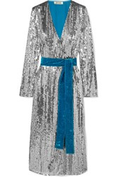 Attico Wrap Effect Paneled Sequined Crepe And Velvet Midi Dress Silver