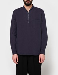 Our Legacy Shawl Zip Shirt Purple Blue Cotton Linen