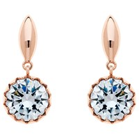 Finesse Cubic Zirconia Scalloped Drop Earrings Rose Gold