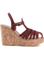 K. Jacques Cork Wedge Sandals Pink And Purple