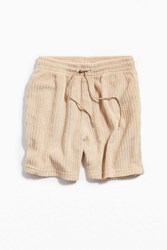 Urban Outfitters Uo Lucian Drop Needle Terry Short Cream