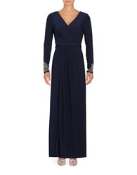 Vince Camuto V Neck Beaded Sleeve Evening Gown Navy