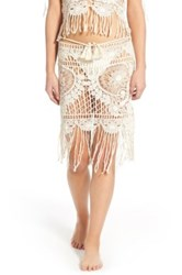 For Love And Lemons St. Lucia Crochet Cover Up Skirt Beige