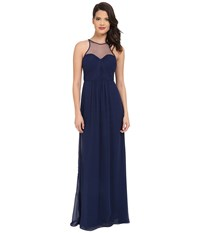 Faviana Chiffon Gown With Illusion Sweetheart Neckline Rouched Bodice Keyhole Back 7774 Navy Women's Dress