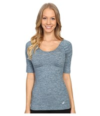 Asics Asx Lux Scoop Back Top Ink Blue Women's Short Sleeve Pullover