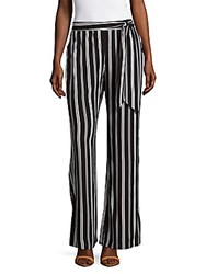 Saks Fifth Avenue Striped Wide Leg Trousers Navy White