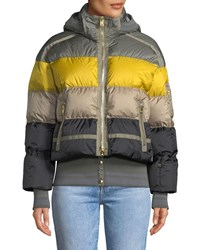 Bogner Fire And Ice Velia Striped Puffer Coat W Hood Gray