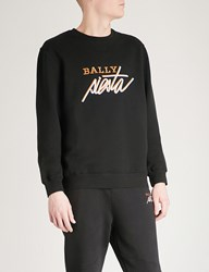 Bally Logo Embroidered Cotton Fleece Sweatshirt Black