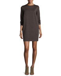 Brunello Cucinelli Long Sleeve Jewel Neck T Shirt Dress Moss Green
