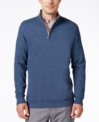 Tasso Elba Men's Big And Tall Honeycomb Textured Quarter Zip Sweater Only At Macy's Pebble Blue Marl