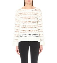 Claudie Pierlot Maguipure Cotton And Nylon Knit Jumper Blanc