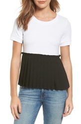 Halogenr Women's Halogen Pleat Peplum Tee White Black Colorblock