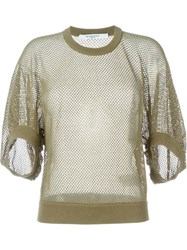 Givenchy Cropped Fishnet Sweater Green