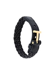 Tom Ford Woven Cuff Bracelet Leather Brass Black