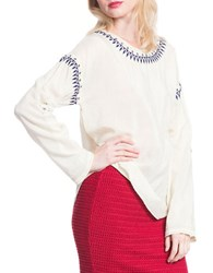 Plenty By Tracy Reese Embroidered Dolman Tee White