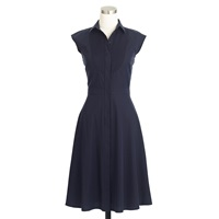J.Crew Tall Cap Sleeve Dress Shirtdress With Tuxedo Bib Navy