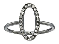Rebecca Minkoff 0 Shaped Pave Ring Hematite Crystal Ring Silver