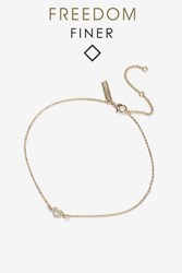 Topshop Fine Rhinestone Heart Anklet Clear