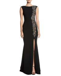 Theia Beaded And Sheer High Slit Sleeveless Gown Black Silver