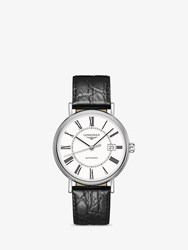 Longines L49224112 'S Presence Automatic Date Leather Strap Watch Black White