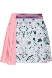 Adidas By Stella Mccartney Pleated Mesh And Ponte Mini Skirt Mint
