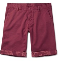 Etro Stretch Cotton Shorts Burgundy