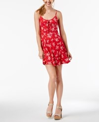 American Rag Juniors' Printed Lace Up Fit And Flare Dress Tropical Punch