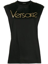 Versace Logo Sleeveless T Shirt Black