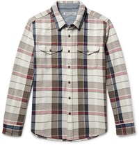 Outerknown Checked Organic Cotton Twill Shirt Mushroom