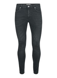 Topman Blue Dark Wash Extreme Ripped Spray On Jeans