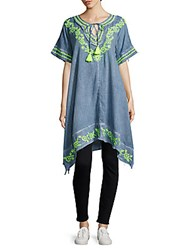 Saks Fifth Avenue Hibiscus Embroidered Asymmetric Cotton Tunic Blue Green