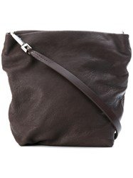 Rick Owens Worn Leather Tote Style Bag Brown