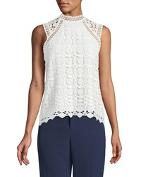 Laundry By Shelli Segal Crochet Sleeveless Mock Neck Blouse White