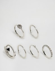 Asos Limited Edition Triangle Flower Ring Pack Burnished Silver