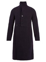 J.W.Anderson Asymmetric Wool And Cashmere Blend Coat Navy