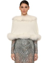 Elie Saab Hooded Wool And Cashmere Cape W Fur Ivory