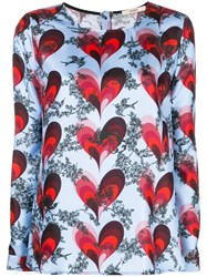 Odeeh Heart Printed Blouse Blue