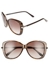 Tom Ford Women's Linda 59Mm Special Fit Butterfly Sunglasses Brown Wattle Gradient Brown Brown Wattle Gradient Brown