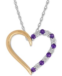 Macy's Amethyst 1 4 Ct. T.W. And Diamond Accent Heart Pendant Necklace In Sterling Silver And 14K Gold Two Tone