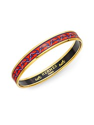Hermes Anchor Enamel Narrow Bangle Bracelet Red Gold