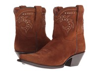 Dan Post Flat Iron Studs Amber Suede Snip Toe Cowboy Boots Brown