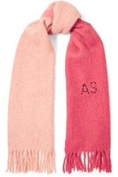 Acne Studios Kelow Two Tone Embroidered Felt Scarf Pink