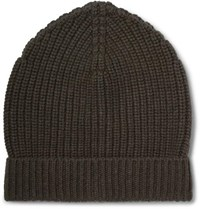 Dolce And Gabbana Ribbed Cashmere Beanie Army Green