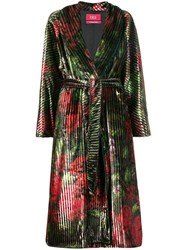 F.R.S For Restless Sleepers Floral Print Belted Coat Green