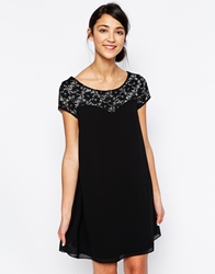 Wal G Lace Insert Swing Dress Black