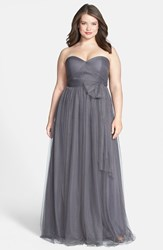Jenny Yoo Plus Size Women's 'Annabelle' Convertible Tulle Column Dress Shadow Grey