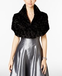 Tahari By Arthur S. Levine Asl Textured Faux Fur Shrug Black