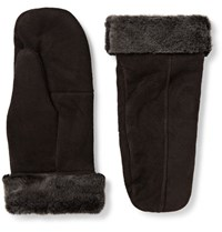 Dents Inverness Shearling Mittens Dark Brown