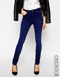 Asos Tall Ridley High Waist Skinny Jeans In Regal Blue Wash