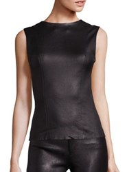 Helmut Lang Matte Stretch Leather Sleeveless Tank Opal Black
